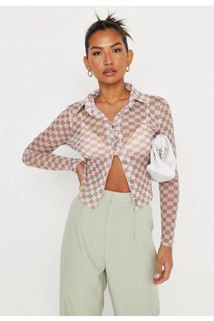 Missguided Checkerboard Print Mesh Shirt