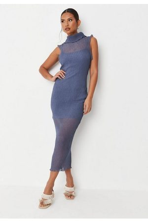 Missguided Sheer High Neck Crinkle Midaxi Dress
