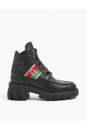 Gucci Romance GG Web-stripe leather boots