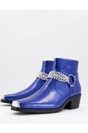 ASOS Cuban heel western chelsea boots in blue patent with silver chain-Blues