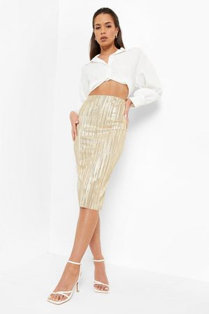 Boohoo Women Pencil Skirts - Womens Glitter Plisse Tube Midi Skirt - - 2