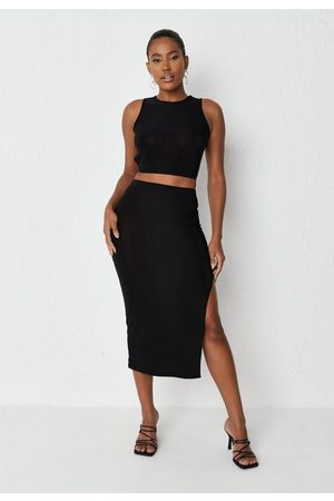Missguided Women Midi Skirts - Slinky Tie Back Top And Midi Skirt Co Ord Set