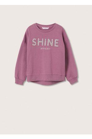 MANGO Crystals message cotton sweatshirt /pastel purple