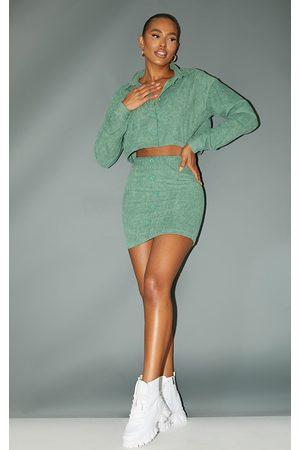 PRETTYLITTLETHING Women Party Dresses - Khaki Cord Button Through Mini Skirt