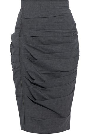 Max Mara Woman Calcina Pleated Wool-blend Pencil Skirt Anthracite Size 34
