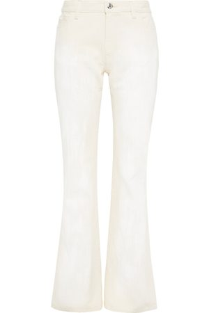 Marni Women Flares - Woman Painted Mid-rise Flared Jeans Ecru Size 40