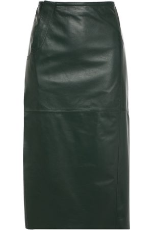 Marni Women Pencil Skirts - Woman Leather Midi Pencil Skirt Forest Size 36