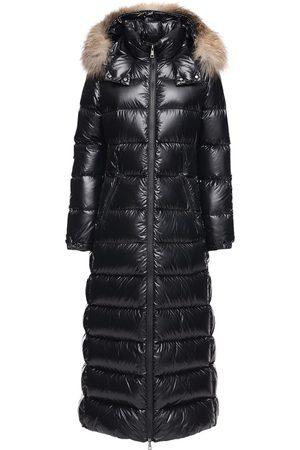 Moncler Hudson Long Nylon Laqué Down Coat