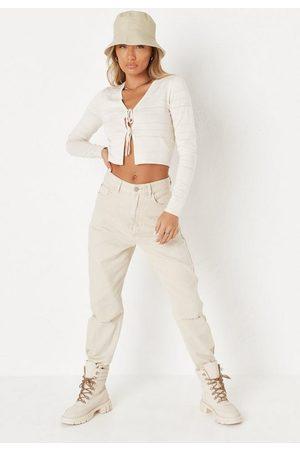 Missguided Ecru Single Slash Knee Mom Jeans