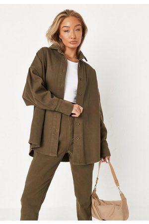 Missguided Women Denim - Khaki Co Ord Oversized Denim Shirt