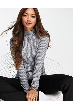 Whistles Wide ribbed high neck top in heather -Grey