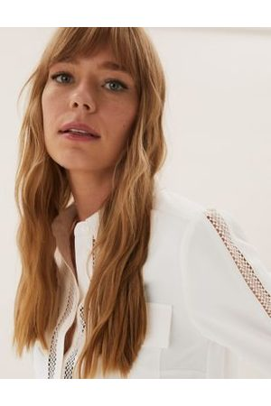 Marks & Spencer Lace Insert Collared Long Sleeve Shirt