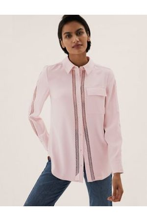 Marks & Spencer Women Long sleeves - Lace Insert Collared Long Sleeve Shirt