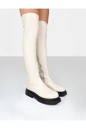 Public Desire Hayla Putty PU Over The Knee Chunky Sole Boots - US 5