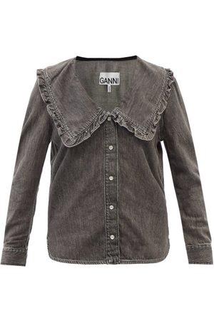 Ganni Chelsea-collar Denim Shirt - Womens - Grey