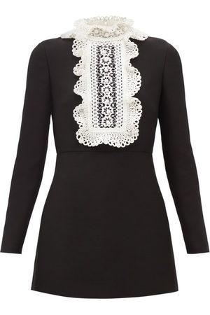 VALENTINO Women Party Dresses - Embroidered-bib Wool-blend Crepe Mini Dress - Womens
