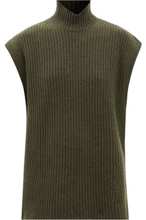 Ganni Women Tank Tops - Ribbed-knit Recycled Wool-blend Sleeveless Sweater - Womens - Dark