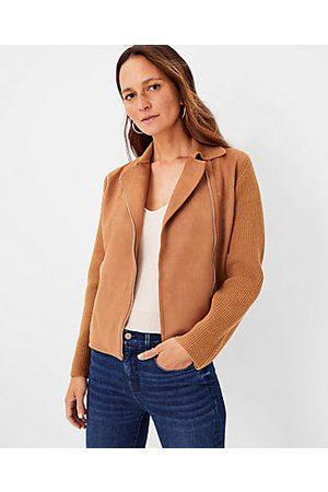ANN TAYLOR Petite Faux Suede Moto Sweater Jacket
