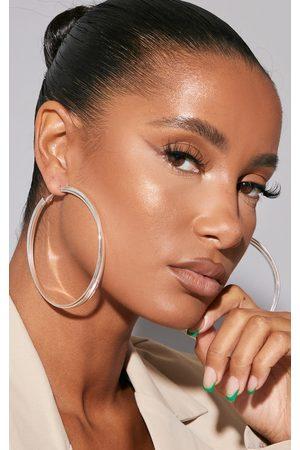 PRETTYLITTLETHING Large Double Engraved Detail Hoop Earrings