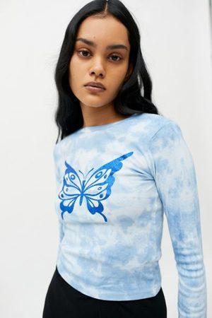Urban Outfitters Glitter Butterfly Tie-Dye Long Sleeve Tee