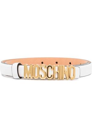 Moschino Logo plaque slim belt