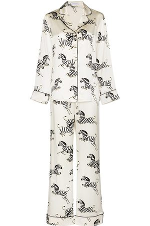 Olivia von Halle Zebra print silk pajama set