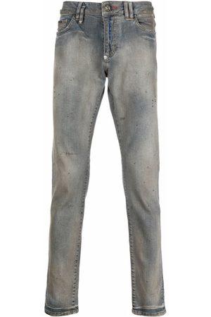 Philipp Plein Men Straight - Mid-rise logo-embroidered straight-leg jeans