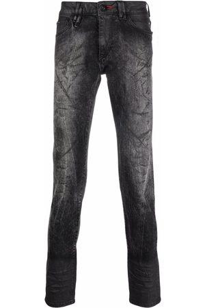 Philipp Plein Men Straight - Hexagon-embroidered straight-leg jeans - Grey