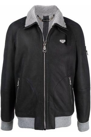 Philipp Plein Men Leather Jackets - Logo-plaque lambskin jacket