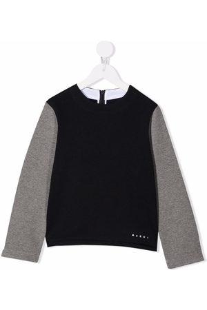 Marni Girls Hoodies - Two-tone crew neck sweatshirt