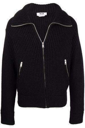 Msgm Men Cardigans - Ribbed-knit zip-up cardigan