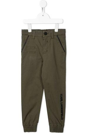 Karl Lagerfeld Boys Straight Leg Pants - Logo-embroidered straight-leg trousers