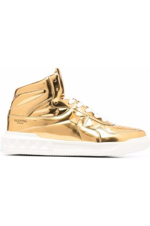 VALENTINO GARAVANI Metallic-effect lace-up sneakers
