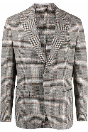 ELEVENTY Prince of Wales-check single-breasted blazer - Grey