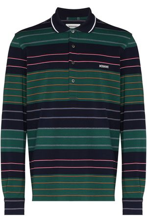 Missoni Men Polo Shirts - Embroidered logo striped polo shirt