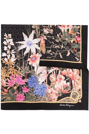 Salvatore Ferragamo Floral-print silk scarf - Grey