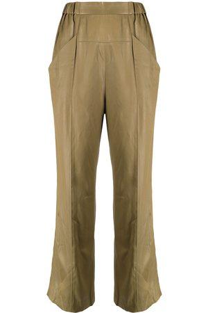 Muller Of Yoshiokubo Women Pants - Elasticated-waist cropped gloss trousers