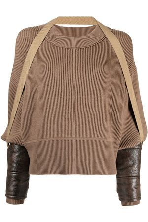 Muller Of Yoshiokubo Draped ribbed-knit wool blend jumper - Neutrals