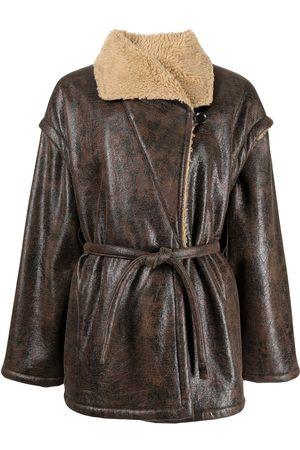 Muller Of Yoshiokubo Women Coats - Buffalo belted faux-leather coat