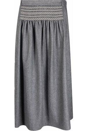 SOFIE D'HOORE Women Skirts - Smocked flannel A-line skirt - Grey