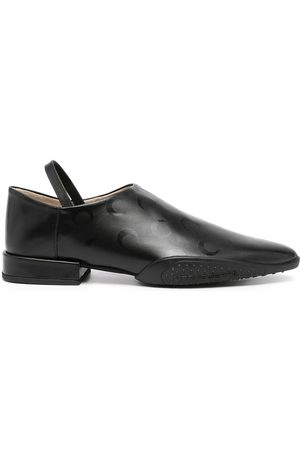 Marine Serre Women Flat Shoes - Crescent moon-print flat leather shoes