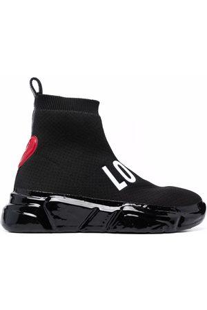 Love Moschino Women Sneakers - Logo print sock sneakers
