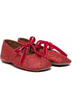 PèPè Girls Ballerinas - Glitter-detail lace-up ballerinas