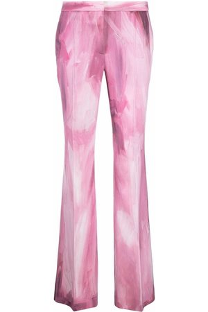 Moschino Women Wide Leg Pants - Paint-print flared suit trousers
