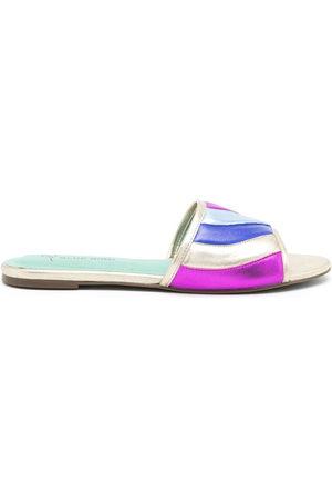 Blue Bird Women Heeled Sandals - Padded colour-block leather slides - Metallic