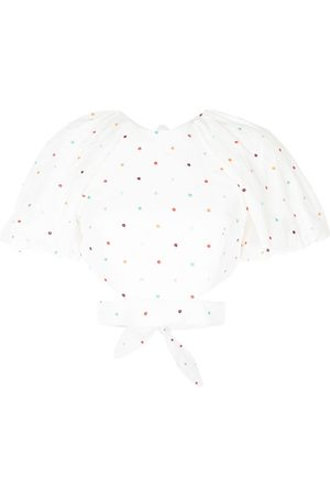 Rebecca Vallance Women Tops - Belle embroidered puff-sleeve top