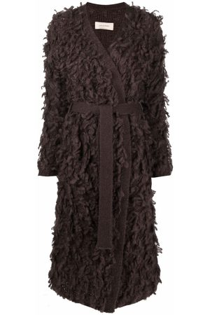GENTRYPORTOFINO Women Cardigans - Textured tie-waist cardigan coat