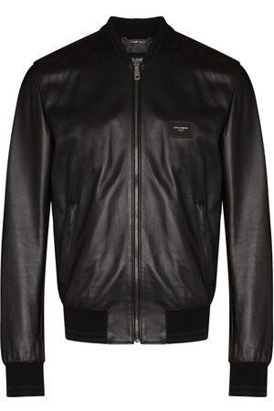 Dolce & Gabbana Men Leather Jackets - Logo-plaque leather bomber jacket