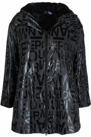 Emporio Armani Women Trench Coats - Logo-print hooded raincoat