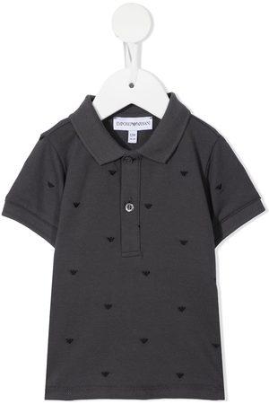 Emporio Armani Logo-embroidered polo shirt - Grey